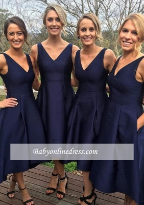 Sleeveless V-neck High-low Dark-Navy A-line Birdesmaid Dresses_3