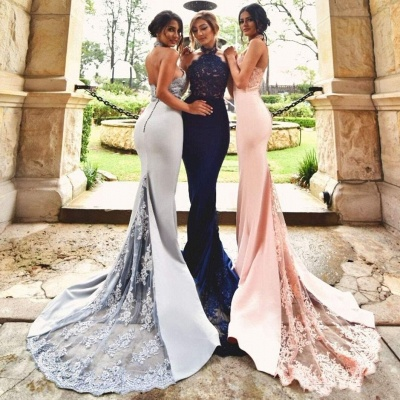 Halter Neck Bridesmaid Dresses Lace Appliques Open Back Sexy Wedding Party Dress_4