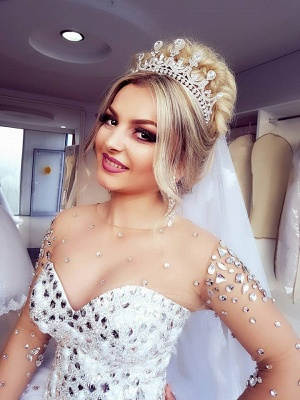Jewel Long-Sleeves Ball-Gown Crystals Brilliant Wedding Dresses_5