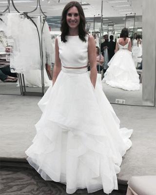 White Two Piece Jewel A-line Bridal Gowns Sleeveless Ruffles Wedding Dress_3