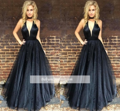 Chic Black V-Neck Evening Gowns | Halter Neck Puffy Prom Dresses_4