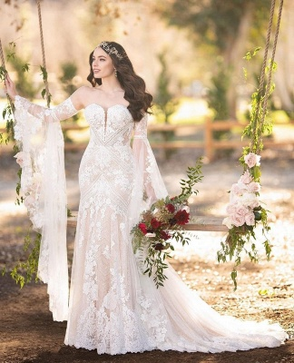 Bell Sleeves Lace Wedding Dresses | Sweetheart Mermaid Bridal Gowns_3