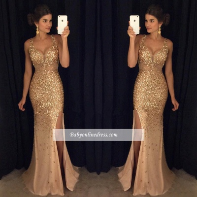 2018 Gorgeous Mermaid Front-Split Sleeveless Crystals Straps Long Prom Dress BA4376_1