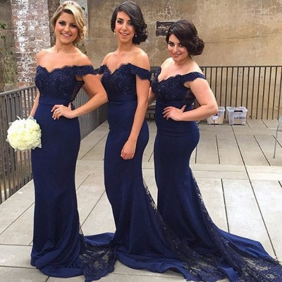 Off-the-Shoulder Mermaid Bridesmaid Dresses Lace Sexy Party Dress with Beadings_1