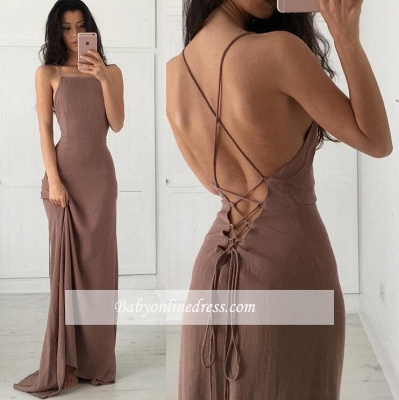 Formal Long Prom Dresses Spaghetti Straps Brown Party Dresses_3