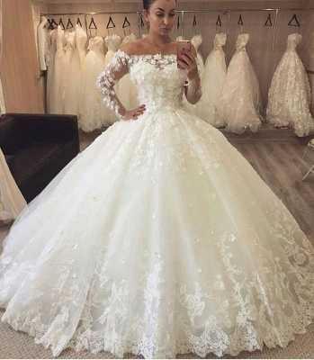 Chic Flowers Ball Gown Wedding Dresses | Off-the-Shoulder Bridal Gowns_3