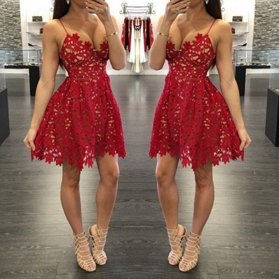 Sexy A-Line Red Lace Homecoming Dresses Spaghetti Straps Party Gowns_3