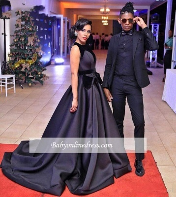 Sleeveless Black Glamorous Sweep-Train Evening Dress 2018_4
