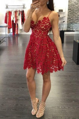 Sexy A-Line Red Lace Homecoming Dresses Spaghetti Straps Party Gowns_1