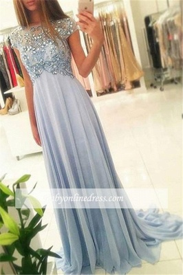 Sparkly Beading Elegant Blue Long Cap-Sleeve Crystals Chiffon Empired Prom Dresses_3