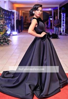 Sleeveless Black Glamorous Sweep-Train Evening Dress 2018_5