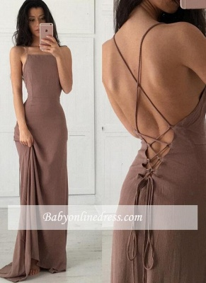 Formal Long Prom Dresses Spaghetti Straps Brown Party Dresses_4
