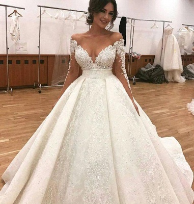 Sexy Bridal A-line Deep V-Neck Lace Appliques Ball Gown Wedding Dresses_3