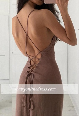 Formal Long Prom Dresses Spaghetti Straps Brown Party Dresses_1