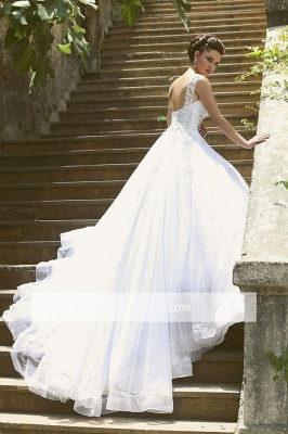Luxury Beaded Lace-Appliques Straps Ball-Gown Wedding Dresses_1