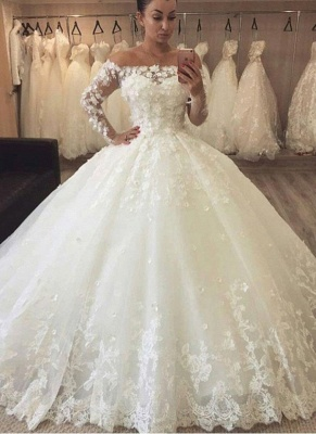 Chic Flowers Ball Gown Wedding Dresses | Off-the-Shoulder Bridal Gowns_1