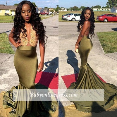 Gorgeous Sleeveless Mermaid Lace Prom Dress_1