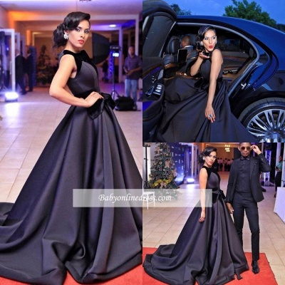 Sleeveless Black Glamorous Sweep-Train Evening Dress 2018_3