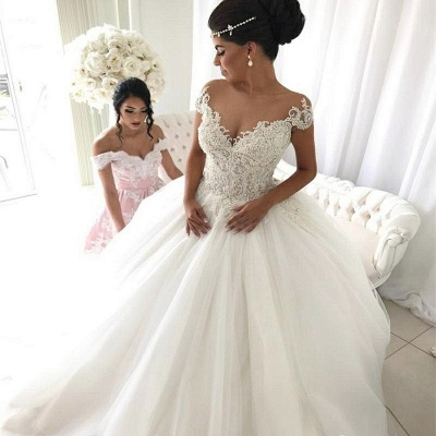 Luxury Ball Gown Wedding Dresses | Off-the-Shoulder Beading Bridal Gowns_3