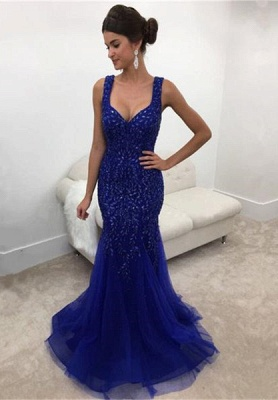 Elegant Straps Mermaid Prom Gowns Sleeveless Long Crystals Royal-Blue Evening Dress_2