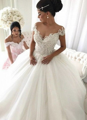 Luxury Ball Gown Wedding Dresses | Off-the-Shoulder Beading Bridal Gowns