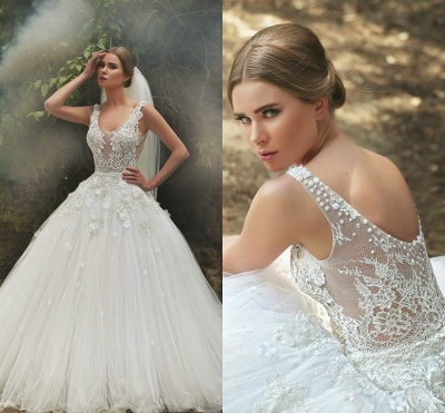 Scoop Neck Applique Beaded Handmade Flowers Tulle Lace Ball Gown Wedding Dresses_4