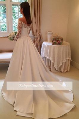 Off-the-Shoulder Newest A-Line Detachable-Train Long-Sleeves Wedding Dresses_1