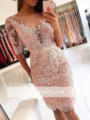 Chic Lace Sheath Homecoming Dresses | Scoop Half Sleeves Short Prom Dresses Knee Length_3