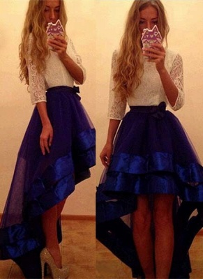 Newest Yoyal-Blue Tulle Hi-Lo Prom Dress A-Line White-Lace Evening Gowns_3