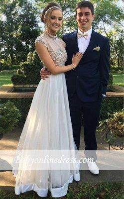 Newest Two-Piece Crystal Evening Gowns Cap-Sleeve A-line High Neck Prom Dress_3