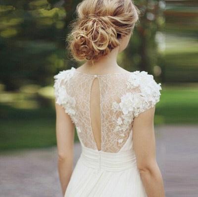 Chiffon Garden A-line V Neck Ruched with Handmade Flowers Beach Wedding Dresses_4