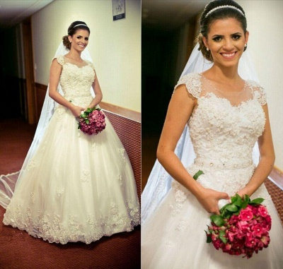 Princess Tulle Appliques Ball Cap-Sleeve Lace Gown Jewel Wedding Dress with Crystal-Belt_3