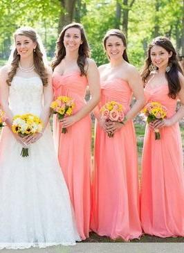 Ruched Floor-length New-Arrival Strapless Simple Bridesmaid Dresses_2