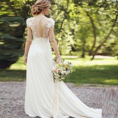 Chiffon Garden A-line V Neck Ruched with Handmade Flowers Beach Wedding Dresses_5