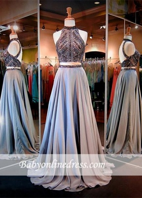 Sexy High-Neck Two-Piece Prom Dresses A-line Crystals Evening Dress_4