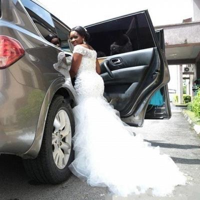 Luxury Beading Mermaid Wedding Dresses | Off-the-Shoulder Short Sleeves Bridal Gowns_4