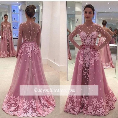 Pink Long Sleeves Lace Appliques Sheer Prom Dresses with Overskirt_1