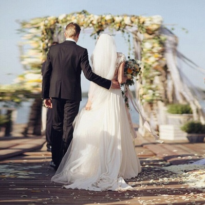 Chiffon Garden A-line V Neck Ruched with Handmade Flowers Beach Wedding Dresses_6