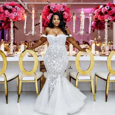 Modest Plus Size Wedding Dresses | Off-the-Shoulder Mermaid Bridal Gowns_3