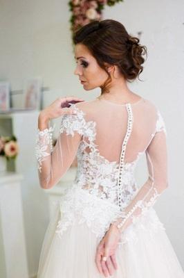 A-line Zipper Button Sweep-Train Lace Appliques Elegant Long-Sleeve Wedding Dress_3