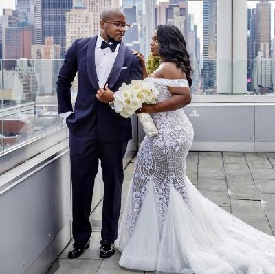 Modest Plus Size Wedding Dresses | Off-the-Shoulder Mermaid Bridal Gowns_5