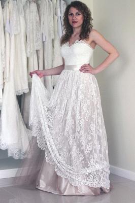 Simple Sweetheart strapless A-line Sleeveless Lace Sash Wedding Dress_2
