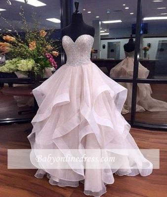 Ruffles Floor-Length Beadings Sweetheart Elegant Tulle Prom Dresses_3