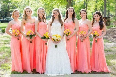 Ruched Floor-length New-Arrival Strapless Simple Bridesmaid Dresses_1