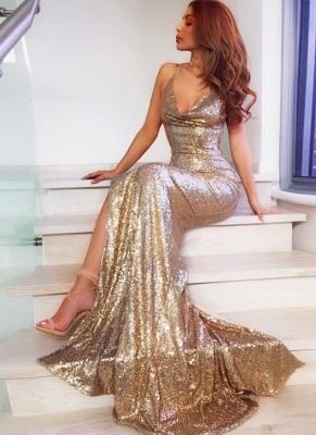 Sparkly Sequins Mermaid Evening Dresses | Spaghetti Straps Side-Slit Long Prom Dresses_3