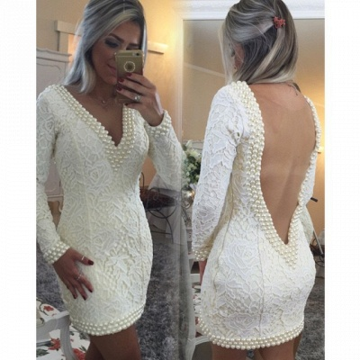 Short Sheath V-Neck Lace Homecoming Dresses Long Sleeves Backless Cocktail Dresses_3