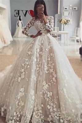 Elegant Long Sleeve Lace Ball Gown Wedding Dress | Flower Bridal Gown