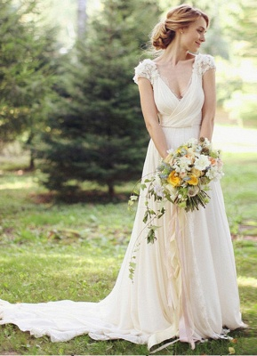 Chiffon Garden A-line V Neck Ruched with Handmade Flowers Beach Wedding Dresses_7