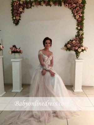 A-line Tulle Appliques Delicate Sweep-Train Lace Long-Sleeve Bridal Dress_4