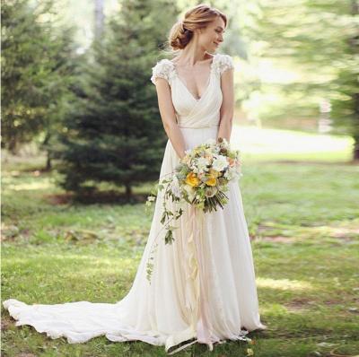Chiffon Garden A-line V Neck Ruched with Handmade Flowers Beach Wedding Dresses_1